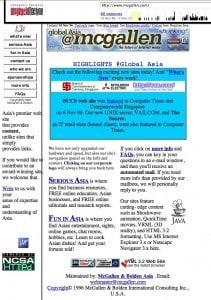 Screen grab from waybackmachine of some sites we hosted for governments and large corporations, in 1996.