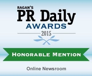 RAGAN's PR Daily Awards 2015 - Online Newsroom category - Honorable Mention