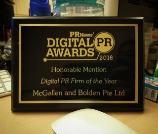 2016 - PRNews Digital PR Awards - Honorable Mention, Digital PR Firm of the Year, McGallen and Bolden Pte Ltd