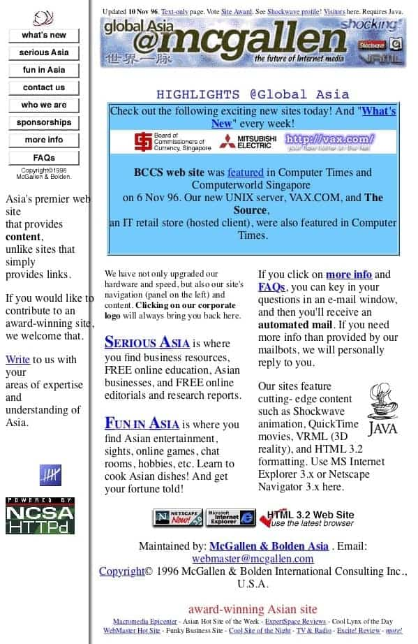 True Internet pioneer since 1996 - award-winning Global Asia content site in the early days of the Internet